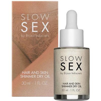 Мерцающее масло-шиммер для тела и волос Slow Sex by Bijoux Indiscrets (Испания)