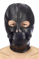 Закрытая маска с кляпом БДСМ Fetish Tentation BDSM hood with removable gag