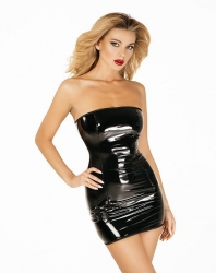 Чорна лакована сукня з блискавкою