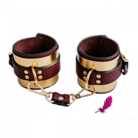 Золотистые кожаные наручники ручной работы - фото0