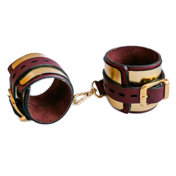 Золотистые кожаные наручники ручной работы - фото1