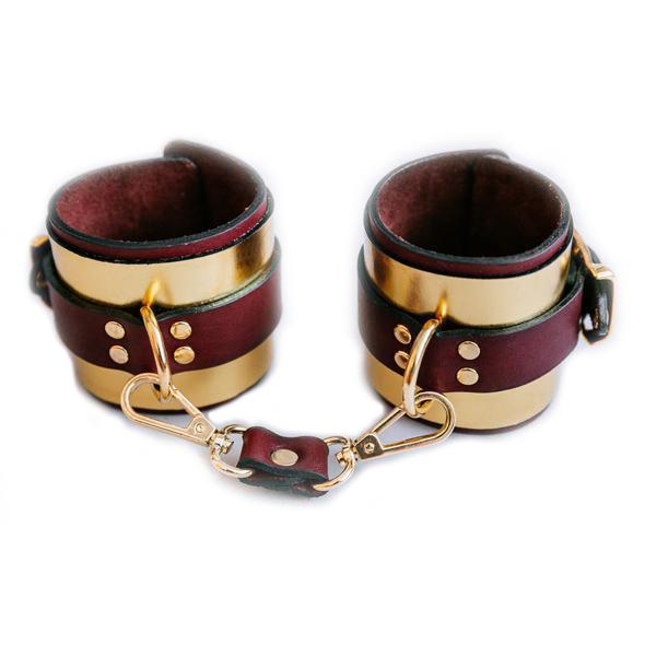Золотистые кожаные наручники ручной работы - фото3