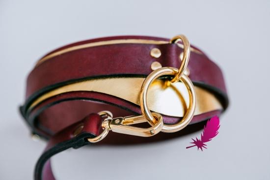 Золотой кожаный ошейник ручной работы - фото5