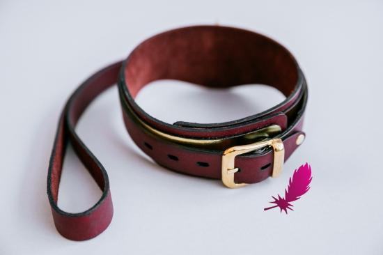 Золотой кожаный ошейник ручной работы - фото4