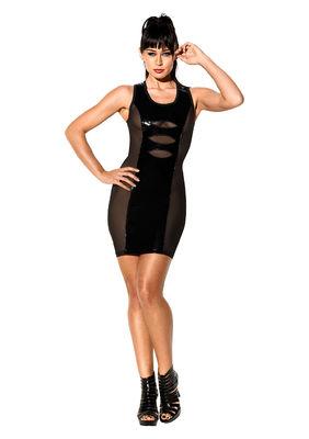 Черное платье с лакироваными вставками Avanza,  S/M