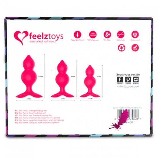Набір анальних пробок Feelztoys - Bibi Twin Butt Plug Set 3 PCS - фото6