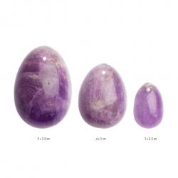 Набір вагінальних яєць з натурального каменю Yoni Egg Аметист (L-M-S)