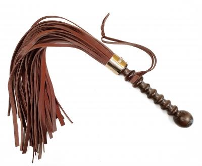 Мягкий коричневый флоггер из натуральной кожи ручной работы
