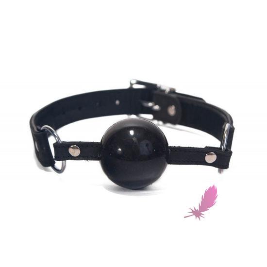 Черный силиконовый кляп-шарик - фото1